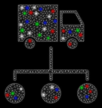 Bright mesh truck distribution links with glow effect. White wire carcass polygonal network in vector format on a black background. Abstract 2d mesh designed with polygonal grid, round dots,
