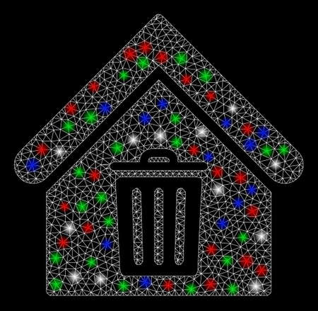 Bright mesh trash house with lightspot effect. White wire frame polygonal mesh in vector format on a black background. Abstract 2d mesh designed with polygonal grid, round dots, colorful flash spots.