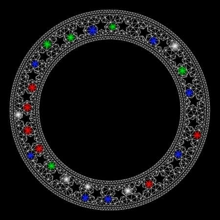 Bright mesh stars round frame with glare effect. White wire frame polygonal network in vector format on a black background. Abstract 2d mesh built from polygonal grid, dots, colorful glare spots.