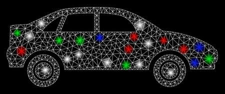 Bright mesh sedan car with glare effect. White wire frame polygonal network in vector format on a black background. Abstract 2d mesh designed with triangles, points, colorful glare spots.