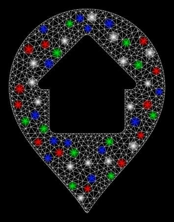 Bright mesh home marker with glare effect. White wire carcass triangular mesh in vector format on a black background. Abstract 2d mesh built from triangular lines, dots, colored flare spots.