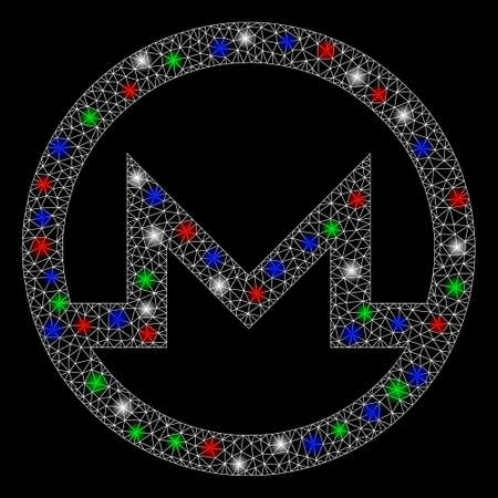Bright mesh Monero symbol with glare effect. White wire frame triangular mesh in vector format on a black background. Abstract 2d mesh designed with triangular lines, points, colorful glare spots.