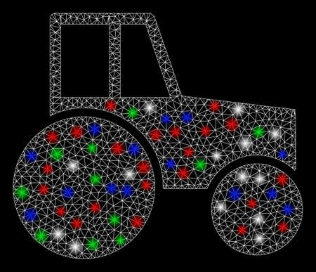 Bright mesh wheeled tractor with glow effect. White wire carcass polygonal network in vector format on a black background. Abstract 2d mesh designed with polygonal grid, round dots,