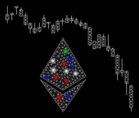 Bright mesh Ethereum fall chart with glare effect. White wire frame polygonal network in vector format on a black background. Abstract 2d mesh designed with polygonal grid, points,