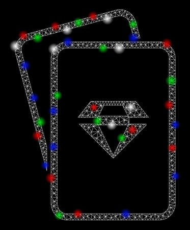 Bright mesh ruby gambling cards with glare effect. White wire frame polygonal network in vector format on a black background. Abstract 2d mesh designed with polygonal grid, small circle,