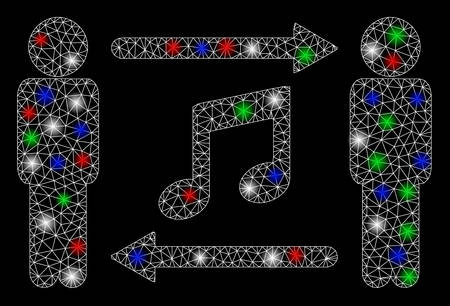 Bright mesh persons music exchange with glow effect. White wire carcass polygonal mesh in vector format on a black background. Abstract 2d mesh designed with polygonal grid, small circle,