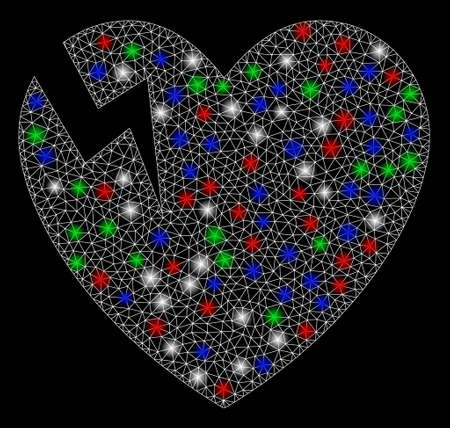 Bright mesh heart crack with glare effect. White wire carcass polygonal mesh in vector format on a black background. Abstract 2d mesh created from polygonal grid, round dots, colorful glare spots. Stock Illustratie