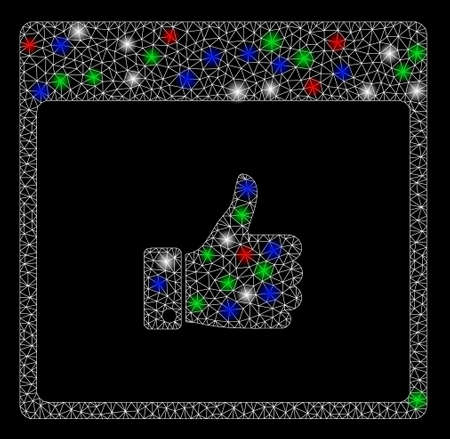 Bright mesh thumb up hand calendar page with lightspot effect. White wire frame triangular network in vector format on a black background. Abstract 2d mesh designed with triangular lines, points,