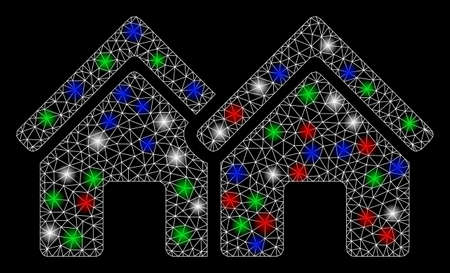 Bright mesh houses with glare effect. White wire carcass polygonal mesh in vector format on a black background. Abstract 2d mesh built from triangular lines, round dots, colored glare spots. 向量圖像