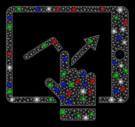 Bright mesh tablet report with glow effect. White wire carcass triangular mesh in vector format on a black background. Abstract 2d mesh built from triangular lines, round dots, colorful flare spots.
