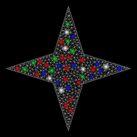 Bright mesh space star with glow effect. White wire carcass polygonal mesh in vector format on a black background. Abstract 2d mesh designed with polygonal grid, points, colorful flash spots.  イラスト・ベクター素材