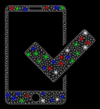 Bright mesh valid smartphone with glow effect. White wire carcass polygonal mesh in vector format on a black background. Abstract 2d mesh designed with triangles, small circle, colored light spots.