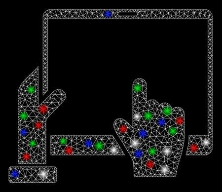 Bright mesh hand points PDA with glare effect. White wire frame triangular mesh in vector format on a black background. Abstract 2d mesh designed with triangular lines, points, colored flash spots.