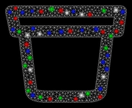 Bright mesh pail with lightspot effect. White wire carcass triangular mesh in vector format on a black background. Abstract 2d mesh designed with triangular lines, spheric points, colored glare spots.