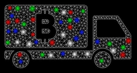 Bright mesh Bitcoin delivery car with glow effect. White wire frame triangular mesh in vector format on a black background. Abstract 2d mesh designed with triangular lines, round dots, Foto de archivo - 131384943
