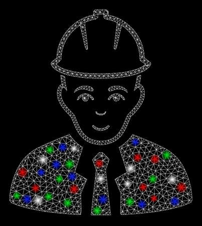 Bright mesh engineer with glare effect. White wire carcass polygonal mesh in vector format on a black background. Abstract 2d mesh designed with polygonal grid, round dots, colored flash spots.