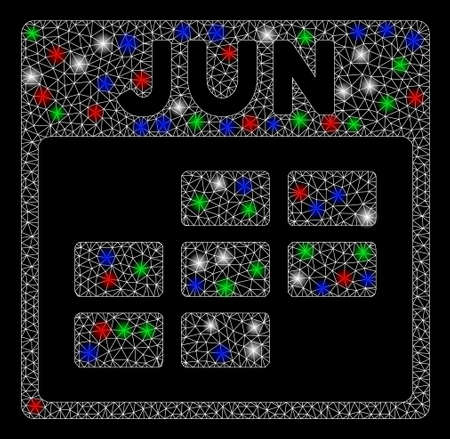 Bright mesh June calendar grid with glare effect. White wire carcass triangular mesh in vector format on a black background. Abstract 2d mesh designed with triangular lines, dots, Ilustracja