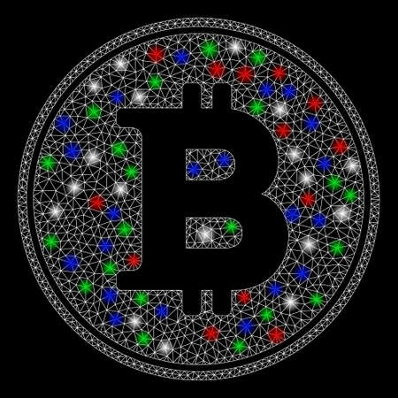 Bright mesh Bitcoin coin with glow effect. White wire frame polygonal mesh in vector format on a black background. Abstract 2d mesh designed with triangles, points, colored flash spots.  イラスト・ベクター素材
