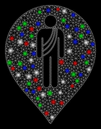 Bright mesh buddhist monk marker with glare effect. White wire frame polygonal mesh in vector format on a black background. Abstract 2d mesh designed with polygonal grid, spheric points,  イラスト・ベクター素材
