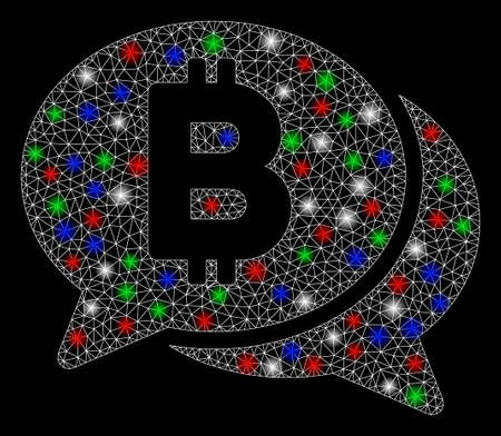 Bright mesh Bitcoin chat with glare effect. White wire frame polygonal mesh in vector format on a black background. Abstract 2d mesh designed with polygonal grid, round dots, colored flash spots. Çizim