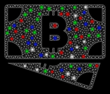 Bright mesh Bitcoin cash banknotes with glow effect. White wire carcass triangular mesh in vector format on a black background. Abstract 2d mesh designed with triangles, dots, colored flash spots. Ilustracja