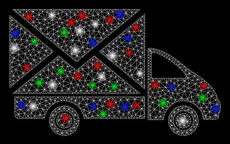 Bright mesh mail delivery car with glare effect. White wire frame triangular mesh in vector format on a black background. Abstract 2d mesh designed with triangular lines, dots, colored glare spots.