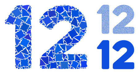 12 digits text composition of rugged pieces in different sizes and color tones, based on 12 digits text icon. Vector rough pieces are organized into composition.