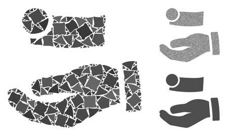 Cash payment hand mosaic of humpy pieces in variable sizes and color tints, based on cash payment hand icon. Vector rugged pieces are grouped into collage. Ilustração