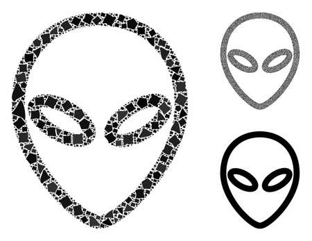 Alien composition of uneven elements in different sizes and color hues, based on Alien icon. Vector uneven pieces are united into composition. Alien icons collage with dotted pattern.