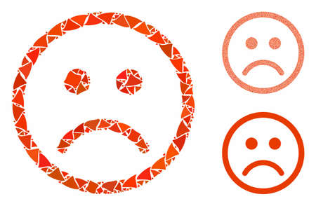 Sad smiley mosaic of tremulant elements in various sizes and color hues, based on sad smiley icon. Vector trembly elements are organized into collage. Sad smiley icons collage with dotted pattern.
