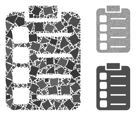 Tasks mosaic of abrupt parts in various sizes and color hues, based on tasks icon. Vector humpy dots are combined into mosaic. Tasks icons collage with dotted pattern.