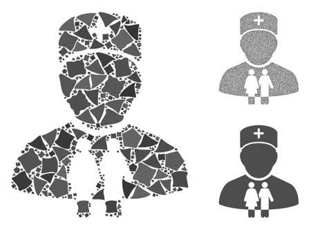 Family doctor composition of bumpy items in different sizes and color tints, based on family doctor icon. Vector bumpy dots are grouped into illustration.