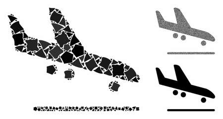 Airplane arrival composition of irregular elements in various sizes and color tints, based on airplane arrival icon. Vector tremulant elements are organized into collage.