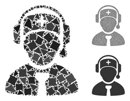 Medical call center composition of joggly pieces in various sizes and color tints, based on medical call center icon. Vector joggly dots are organized into mosaic.