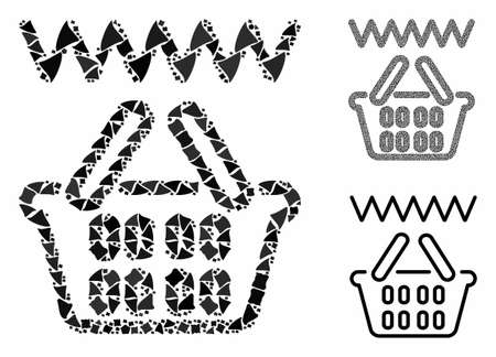Web shop basket composition of ragged pieces in various sizes and color tones, based on web shop basket icon. Vector inequal pieces are grouped into composition.