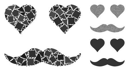 Lover smiley mosaic of joggly elements in various sizes and color tints, based on lover smiley icon. Vector joggly pieces are organized into collage. Lover smiley icons collage with dotted pattern.