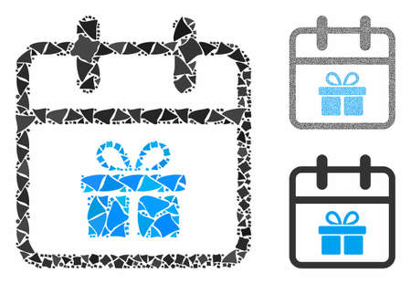 Gift day composition of abrupt parts in different sizes and shades, based on gift day icon. Vector trembly parts are organized into composition. Gift day icons collage with dotted pattern.