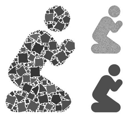 Pray pose mosaic of rough pieces in different sizes and color tinges, based on pray pose icon. Vector inequal pieces are grouped into collage. Pray pose icons collage with dotted pattern.