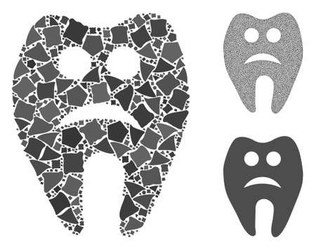 Sad tooth composition of humpy pieces in variable sizes and color tones, based on sad tooth icon. Vector rugged parts are combined into composition. Sad tooth icons collage with dotted pattern.