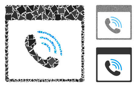 Phone call calendar page mosaic of humpy elements in various sizes and color hues, based on phone call calendar page icon. Vector irregular elements are united into collage.