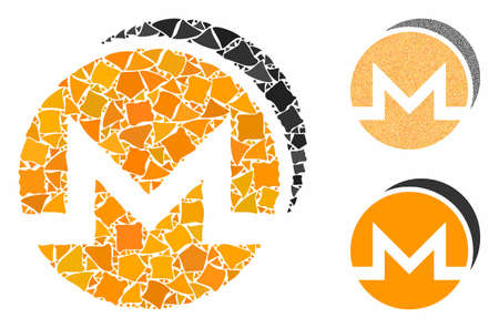 Monero coins mosaic of uneven items in different sizes and color tints, based on Monero coins icon. Vector uneven items are united into mosaic. Monero coins icons collage with dotted pattern. Ilustração