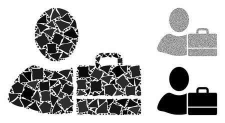 Accounter mosaic of joggly pieces in variable sizes and color tones, based on accounter icon. Vector humpy pieces are combined into collage. Accounter icons collage with dotted pattern. 일러스트