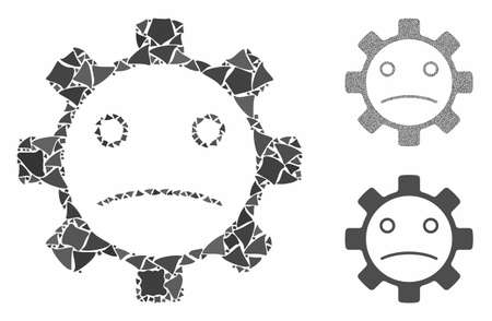 Service gear sad smiley mosaic of uneven items in various sizes and color tones, based on service gear sad smiley icon. Vector humpy items are combined into mosaic.  イラスト・ベクター素材
