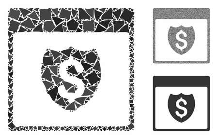 Financial shield calendar page composition of raggy parts in various sizes and color tones, based on financial shield calendar page icon. Vector trembly parts are composed into collage.