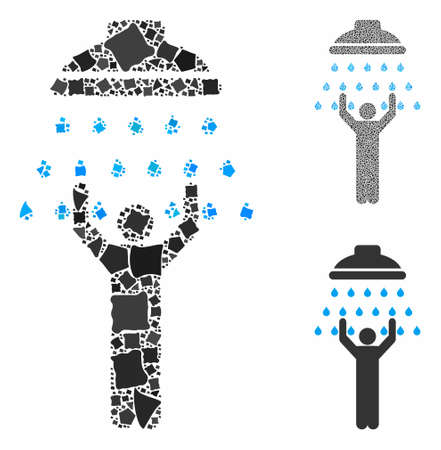 Man under shower composition of abrupt pieces in different sizes and color tints, based on man under shower icon. Vector tremulant pieces are grouped into composition.