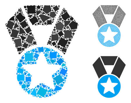Champion medal mosaic of bumpy pieces in various sizes and color tones, based on champion medal icon. Vector bumpy elements are organized into mosaic. Champion medal icons collage with dotted pattern.