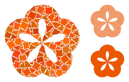 Flower composition of tremulant elements in different sizes and shades, based on flower icon. Vector rugged items are combined into collage. Flower icons collage with dotted pattern.