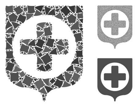 Medical cross shield mosaic of ragged items in variable sizes and color tinges, based on medical cross shield icon. Vector tremulant items are organized into mosaic.