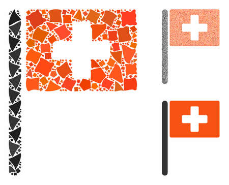Hospital flag composition of rugged pieces in various sizes and shades, based on hospital flag icon. Vector joggly pieces are combined into composition. Иллюстрация