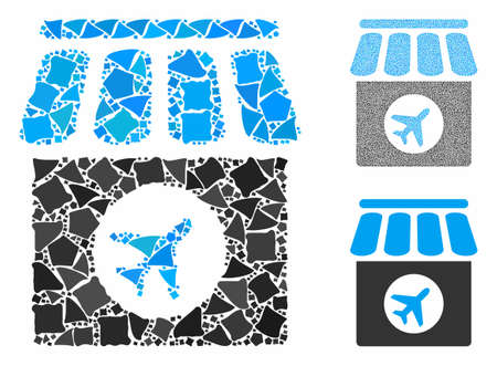 Duty free composition of ragged elements in various sizes and color tints, based on duty free icon. Vector tuberous elements are organized into collage. Duty free icons collage with dotted pattern.